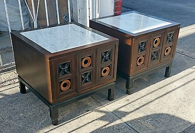 Mid Century Modern Marble Top Tic Tac Toe  Nightstands / End Tables Dunbar P