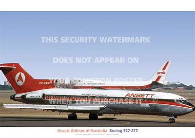 Ansett Boeing 727 277 1968 Red Livery Aircraft A3 Poster Print Photo Picture