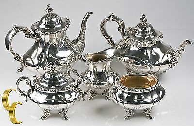 Reed & Barton Georgian Rose 5-piece Sterling Silver Tea/Coffee Set #670