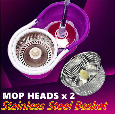 360° Spinning Stainless Steel Magic Spin Bucket Dry Microfibre White Mop Heads