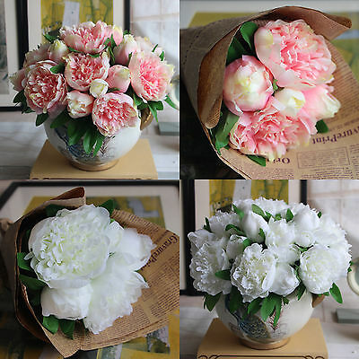 New 1X Bouquet Artificial Peony Flowers Silk Wedding Bridal DIY Party Decoration