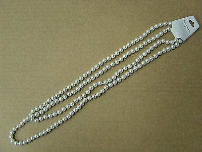 Long White Bead Pearl Necklace Retro 1920s Gatsby Flapper Costume Gangster Beads