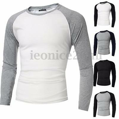 Men's Casual Slim Fit Shirt Long Sleeve Muscle Baseball Cotton T-shirt Tee Top