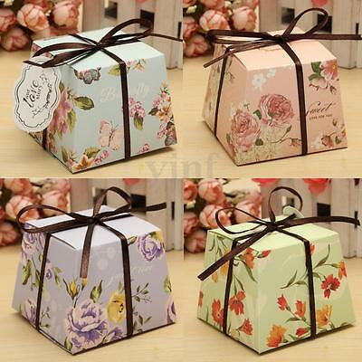 10/20/50Pcs Floral Flower Laser Cut Paper Candy Boxes Ribbon Wedding Favor Gift