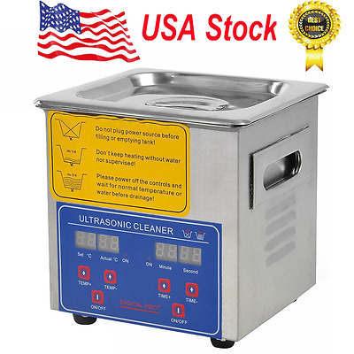New Stainless Steel 2L Liter Industry Heated Ultrasonic Cleaner Heater Timer
