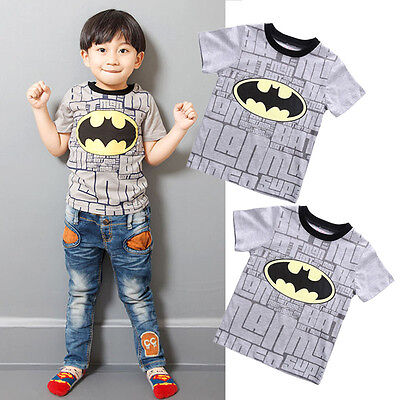 Toddler Kids Boys Summer Batman Short Sleeve Tops T-shirt 2-7T