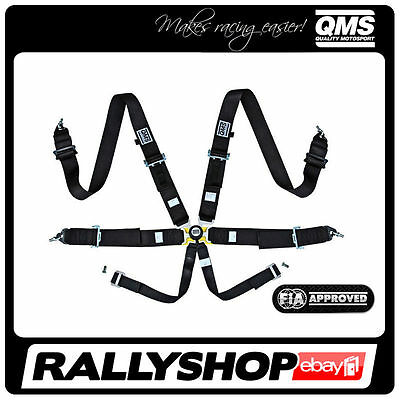 """FIA QMS 6 Point Harness 3"""" BLACK Belts Light Adjuster Quick release Racing Rally"""
