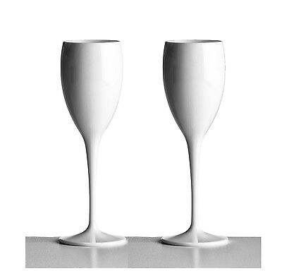 Unbreakable Polycarbonate White Champagne Flutes 180ml (6oz) Pack of 2