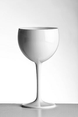 Unbreakable Elegant High Gloss White Plastic Wine Goblets Pack of 6