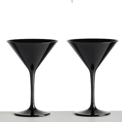 Black Martini Cocktail Glasses Unbreakable Polycarbonate Pack of 2