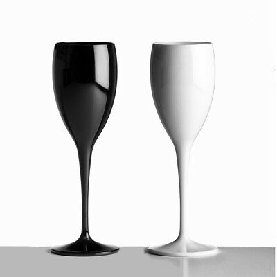 Unbreakable Polycarbonate White&Black Champagne Flutes 180ml (6oz) Pack of 2