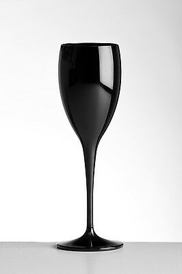 Unbreakable Polycarbonate Black Champagne Flutes 180ml (6oz) Pack of 6