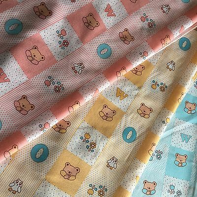 Baby Nursery Teddy's Patchwork With little Hoot Owls & FLowers in 3 colour ways