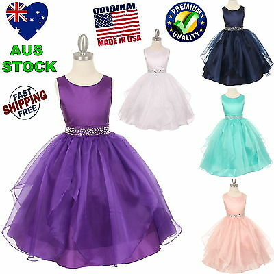 Rhinestones Flower Girl Dress Party Girls Dress Wedding Birthday Formal Dress