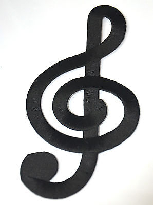 """BLACK CLEF MUSIC NOTE 17cm 7"""" Embroidered Iron Sew On Cloth Patch Badge APPLIQUE"""