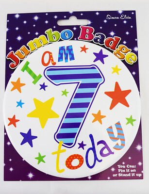 Happy I Am 7 Today Birthday Age Boy Jumbo Badge Kids Star Accessory Party Gift