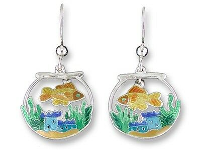 Fish Bowl Silver Earrings, Zarah Designer Jewelry, Hand Painted Enamel, Artisian