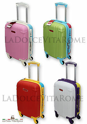 Trolley Valigia Bagaglio A Mano Cabina  Ryanair Easy Jet 4 Ruote Abs Low Cost