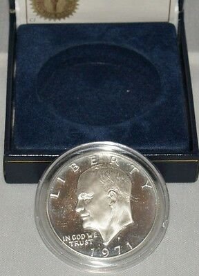 Eisenhower 1971 Silver USA One Dollar, Uncirculated, Certificate of Authenticity