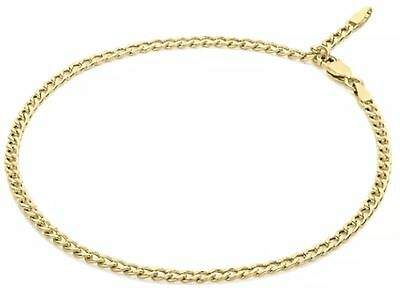 9ct YELLOW Solid GOLD Adjustable Anklet 25.5cm/ 10inch hallmarked UK + FREE Gift