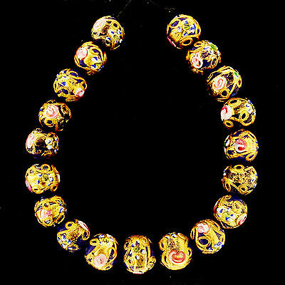 "Stunning Set of ""Wedding Cake"" Murano Glass Beads 1925/1940 Art Deco    (0082)"