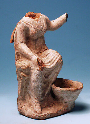 Greek Terracotta Seated Female - Ancient Art & Antiquities