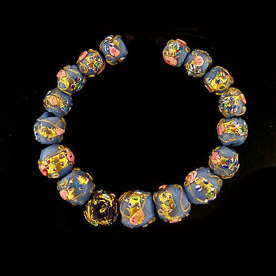 "Stunning Set of ""Wedding Cake"" Murano Glass Beads 1925/1940 Art Deco    (0084)"