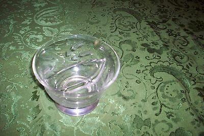 Vintage ART DECO Crystal  CANDY DISH  Sterling SILVER BASE W/GLASS ETCHING