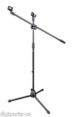 Bison Prosound Tripod Boom Mic Microphone Stand with 2 holders clips (80-076)