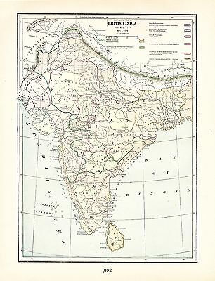 Historical Map of British India George Cram 1900