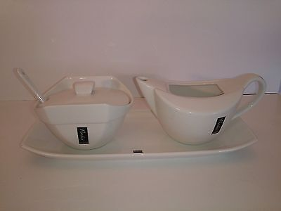 Verdici Design White Porcelain Covered Sugar Bowl With Spoon & Creamer With Tray