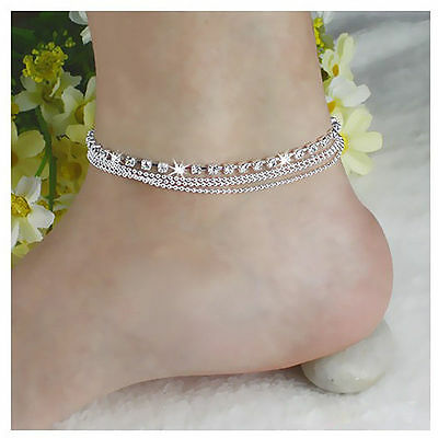 Silver Tassels Crystal Rhinestone Bead Chain Ankle Bracelet Anklet Foot Jewelry