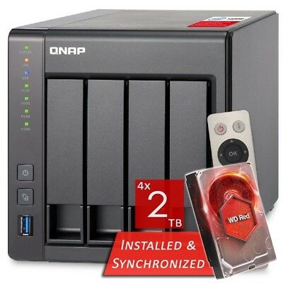 QNAP TS-451+-2G 4 Bays NAS + 8TB 4x WD Red 2TB WD20EFRX