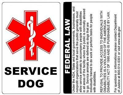Tag With ADA Service Dog ID Badge Law On The Back Durable PVC Credit Card Size