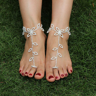 Women Bridal Crystal Beach Barefoot Sandals Foot Toe Ring Ankle Bracelet Jewelry