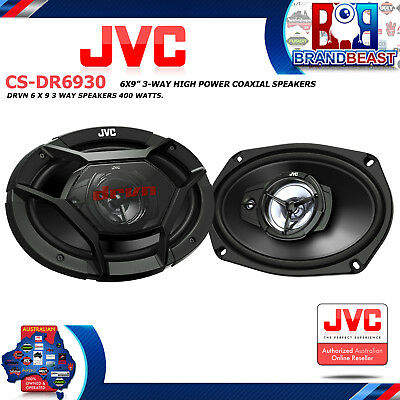 """Jvc Cs-dr6930 Drvn Series 400w 3 Way 6x9"""" 6"""" X 9"""" Car Audio Speakers With Grille"""
