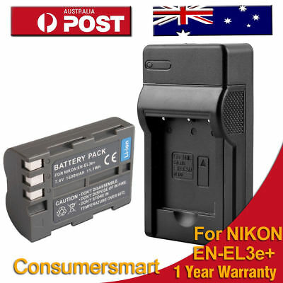 Battery+Charger for Nikon EN-EL3e S6300 S800C S9050 S9400 D80 D90 Au local