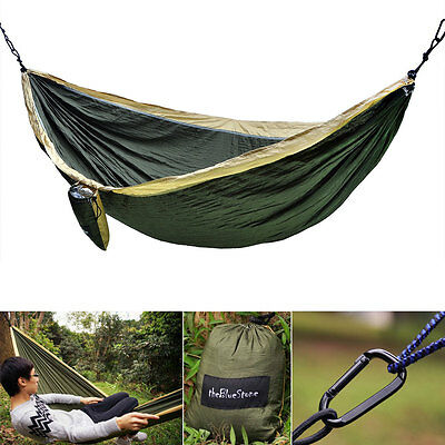Double 2Person Portable Camping Outdoor Hammock Nylon Parachute Bed Travel Swing
