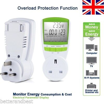 Plug-in Electricity Power Consumption Meter Energy Monitor Watt Kwh Analyzer UK