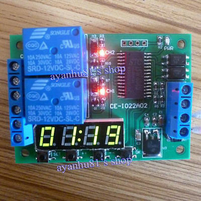 DC 12V 2CH Multi-function Delay Time Cycle Timer Relay Module Timing Switch