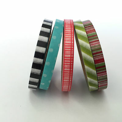 Washi Tape Thin Skinny 5 Roll Set No 2 Each Roll 5Mm X 10Mtrs Craft Plan Scrap