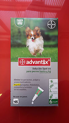ADVANTIX hasta 4kg, 6 PIPETAS antiparasitario