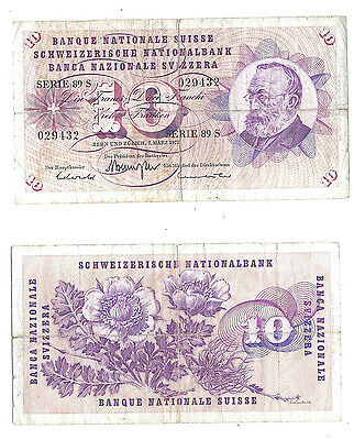 Switzerland 10 Franken 1973 (VG-F) Condition Banknote P-45