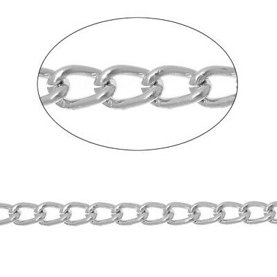 10m x Silver Plated Metal Alloy 3 x 4mm Open Curb Chain CH1265