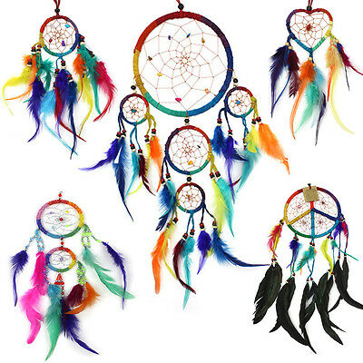 Rainbow Multi Colour Dreamcatchers -Colourful feather dream catcher - All sizes