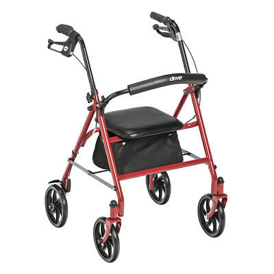 Drive Medical Red Rollator Folding Walker Adult 4 Wheels 10257RD *NEW* Free Ship