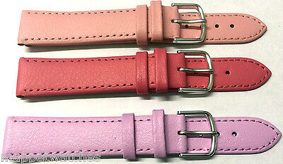 12mm GENUINE LEATHER STITCHED PINK LILAC COLOUR WATCH STRAP - Gold Silver Buckle