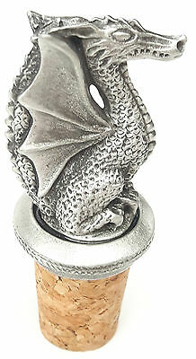 Mythical wyvern Handcrafted From English Pewter Bottle Stopper + GiftBag