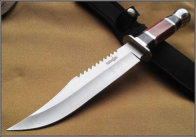 Survivor Hunting Saw Back Bowie Fixed Blade Knife Wood Handle 12 Inch Overall