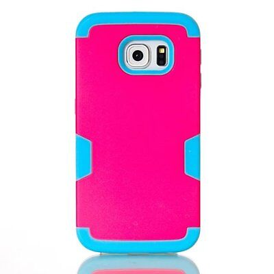 Hot Pink/Blue Rugged Hybrid Rubber Hard Cover Case For Samsung Galaxy S7 Edge